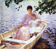 A Mother and Child in a Boat