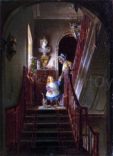 Descending the Stairs - Edward Lamson Henry