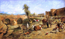 Arrival of a Caravan Outside The City of Morocco - Edwin Lord Weeks
