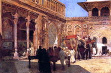 Elephants and Figures in a Courtyard, Fort Agra - Edwin Lord Weeks