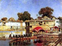 Palace and Lake at Sarket-Ahmedabad, India - Edwin Lord Weeks