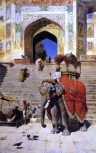 A Royal Elephant at the Gateway to the Jami Masjid, Mathura - Edwin Lord Weeks