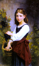 A Young Girl Holding a Basket of Grapes - Elizabeth Gardner Bouguereau