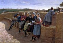 Breton Children Reading - Emile Vernon