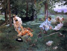 Elegant Figures in a Summer Garden