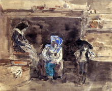 Breton Family by the Fireplace - Eugene-Louis Boudin