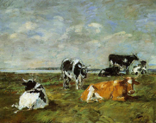Cows near the Sea - Eugene-Louis Boudin