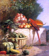 Fruit and Vegetables with a Parrot - Eugene-Louis Boudin