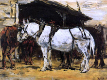 Harnessed Horses - Eugene-Louis Boudin
