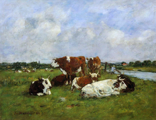 A Pasturage on the Banks of the Touques - Eugene-Louis Boudin