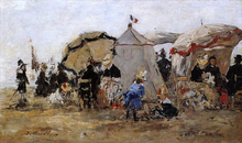 Woman and Children on the Beach at Trouville - Eugene-Louis Boudin