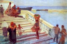 Figures on Venetian Steps - Frank Duveneck