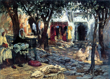 Idle Moments: An Arab Courtyard - Frederick Arthur Bridgeman