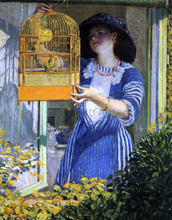 The Open Window (also known as The Bird Cage) - Frederick Carl Frieseke