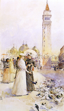 Feeding Pigeons in the Piazza - Frederick Childe Hassam