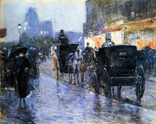 Horse Drawn Cabs at Evening, New York - Frederick Childe Hassam