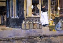 La Bouquetiere et la Latiere (also known as Flower Store and Dairy Store) - Frederick Childe Hassam