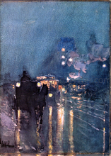Nocturne, Railway Crossing, Chicago - Frederick Childe Hassam