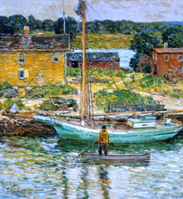 An Oyster Sloop, Cos Cob - Frederick Childe Hassam