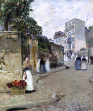 Rue Montmartre, Paris - Frederick Childe Hassam