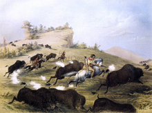 Catlin the Artist Shooting Buffaloes with Colt's Revolving Pistol - George Catlin