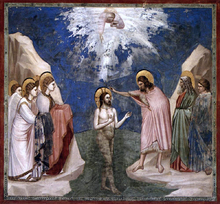 Scenes from the Life of Christ: 7. Baptism of Christ (Cappella Scrovegni (Arena Chapel), Padua) - Giotto Di Bondone
