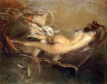 A Reclining Nude on a Day Bed - Giovanni Boldini