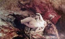 Naked Young Lady with Blanket - Giovanni Boldini