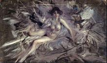 Nude of Young Lady on Couch - Giovanni Boldini