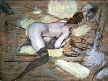 Nude Woman Reclining on Yellow Cushions - Giovanni Boldini