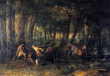 The Battle of the Stags - Gustave Courbet