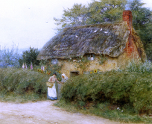 A Cottage With Sunflowers At Peaslake - Helen Allingham RWS