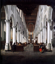 Interior of the Nieuwe Kerk, Delft, from beneath the Organ Loft at the Western Entrance