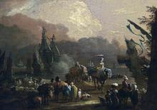 Mediterranean Harbour Scene - Hendrik Van Minderhout