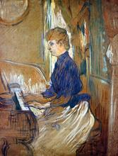 At the Piano - Madame Juliette Pascal in the Salon of the Chateau de Malrome - Henri De Toulouse-Lautrec