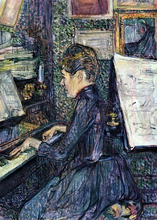 Mille. Dihau Playing the Piano - Henri De Toulouse-Lautrec