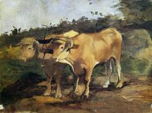 Two Bulls Wearing a Yoke - Henri De Toulouse-Lautrec