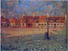 Sunset at the Petit Palace Gravelines - Henri Le Sidaner