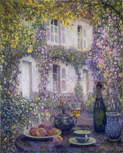 Table at the Mansion with Flowers - Henri Le Sidaner