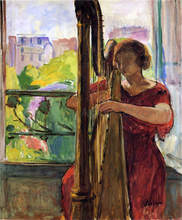 A Girl Playing a Harp - Henri Lebasque