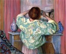 Woman Doing Her Hair at the Mirror - Henri Lebasque