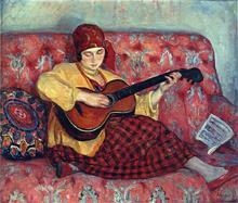 A Young Girl with Guitar - Henri Lebasque