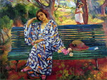 AYoung Woman Seated on a Bench - Henri Lebasque
