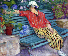 A Young Woman Seated with Hydrangeas - Henri Lebasque