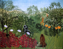 A Tropical Forest with Apes and Snake - Henri Rousseau