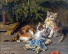 The Christmas Spat - Henriette Ronner-Knip
