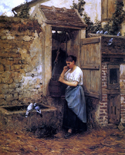 Peasant Girl and Doves - Henry Mosler