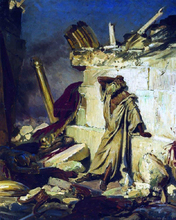 Cry of prophet Jeremiah on the Ruins of Jerusalem (on a Bible subject) - Ilia Efimovich Repin