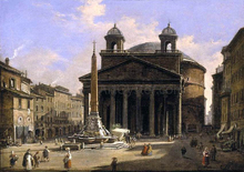 View of the Pantheon, Rome - Ippolito Caffi