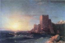 Towers on the Rock Near Bosporus - Ivan Constantinovich Aivazovsky